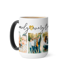 family gold heart everything color changing mug