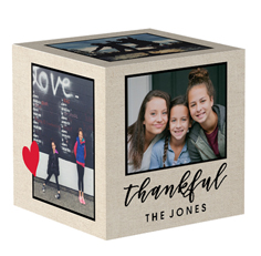 blessed loved thankful script photo cube