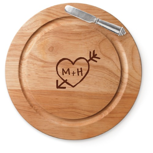 Carved Heart Cutting Board, Rubber, Round Cutting Board, With Cheese Knife, White