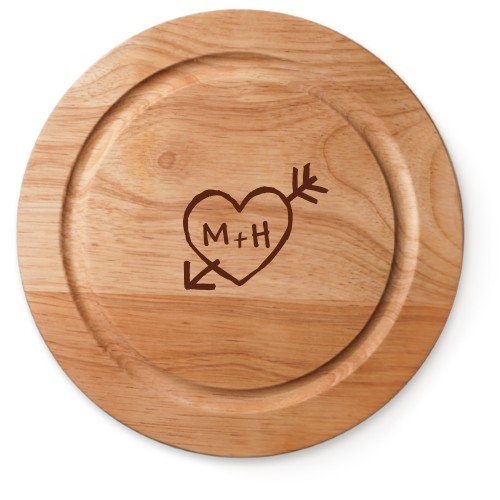 Carved Heart Cutting Board, Rubber, Round Cutting Board, NONE, White