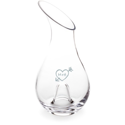 Carved Heart Decanter, Decanter Double Side, Glass, White