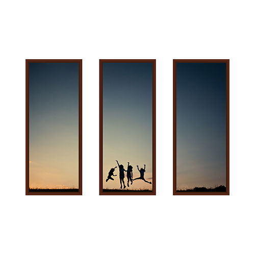 Three Panoramic 10x24 Spread Mounted Wall Art, Multi piece, Brown, Multicolor
