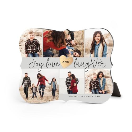 Joy Love Laughter Desktop Plaque, Bracket, 8 x 10 inches, Grey