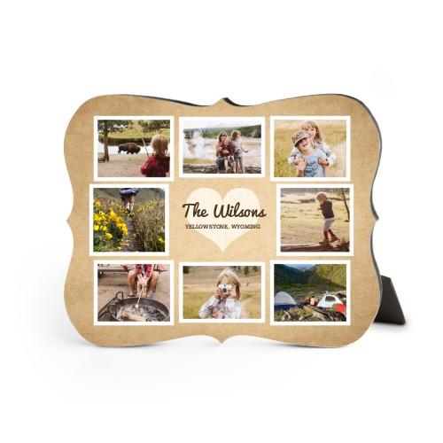 Heart Craft Desktop Plaque, Bracket, 8 x 10 inches, Brown
