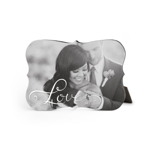 Hand-Lettered Love Horizontal Desktop Plaque, Bracket, 5 x 7 inches, White
