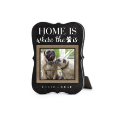 rustic home is where the paw is desktop plaque