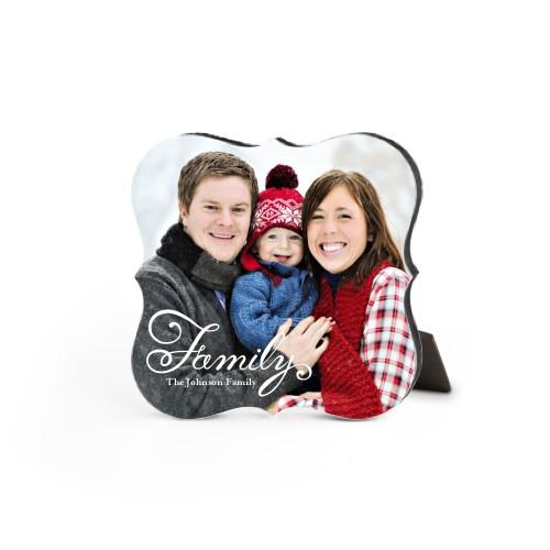 Hand-Lettered Family Desktop Plaque, Bracket, 5 x 5 inches, White