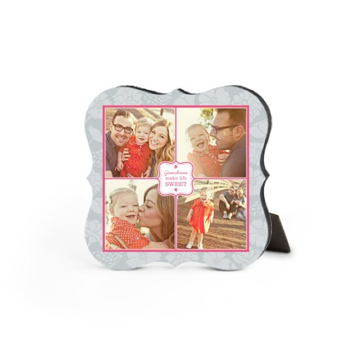 Sweet Grandma Desktop Plaque, Bracket, 5 x 5 inches, Grey
