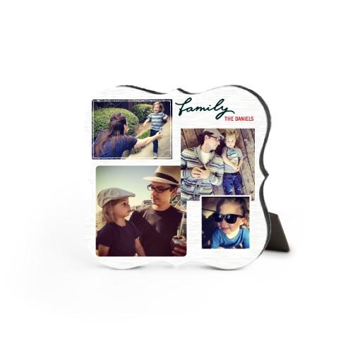 Family Montage Desktop Plaque, Bracket, 5 x 5 inches, Grey