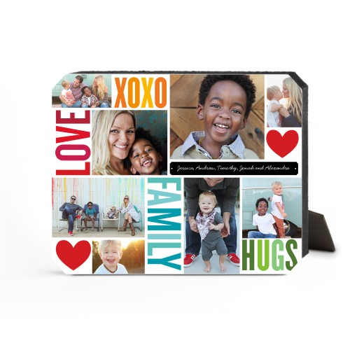 Family Love Hugs Desktop Plaque, Ticket, 8 x 10 inches, Red