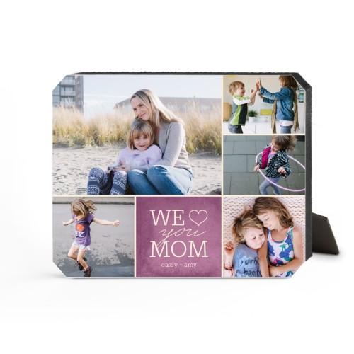 We Heart Mom Desktop Plaque, Ticket, 8 x 10 inches, Purple