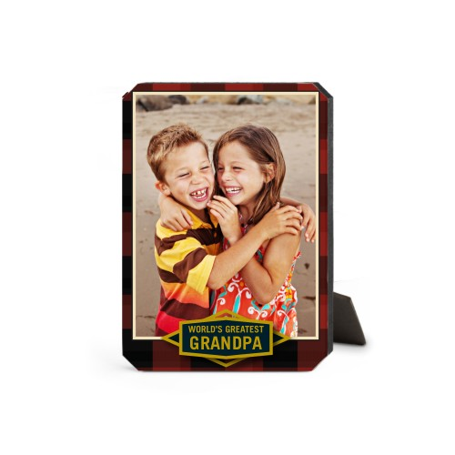Greatest Grandpa Plaid Desktop Plaque, Ticket, 5 x 7 inches, Red