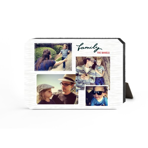 Family Montage Desktop Plaque, Ticket, 5 x 7 inches, Grey