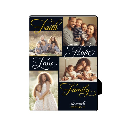 Faith And Family Desktop Plaque, Rectangle, 5 x 7 inches, Black
