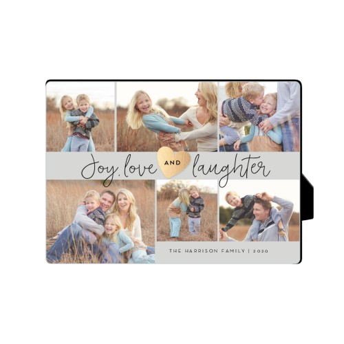 Joy Love Laughter Desktop Plaque, Rectangle, 5 x 7 inches, Grey