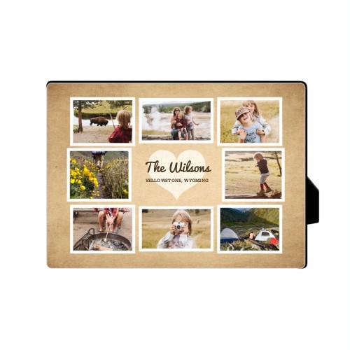 Heart Craft Desktop Plaque, Rectangle, 5 x 7 inches, Brown