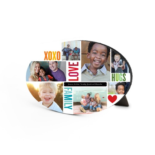 Family Love Hugs Oval Desktop Plaque