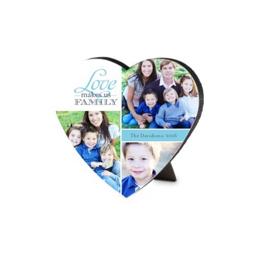 Love Makes Us Family Heart-Shaped Desktop Plaque