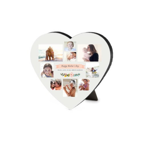 Floral Banner Heart-Shaped Desktop Plaque, Heart, 6 x 6.5 inches, Grey