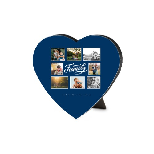 Family All Around Collage Heart Desktop Plaque