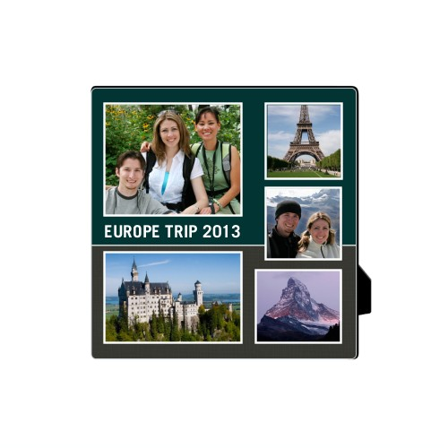 Travel Collage Desktop Plaque, Rectangle, 5 x 5 inches, Grey