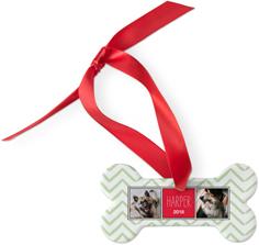 playful chevron dog ornament
