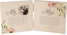 elegant wedding vow double wooden print