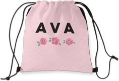 princess chevron floral drawstring backpack