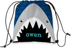 nautical shark drawstring backpack