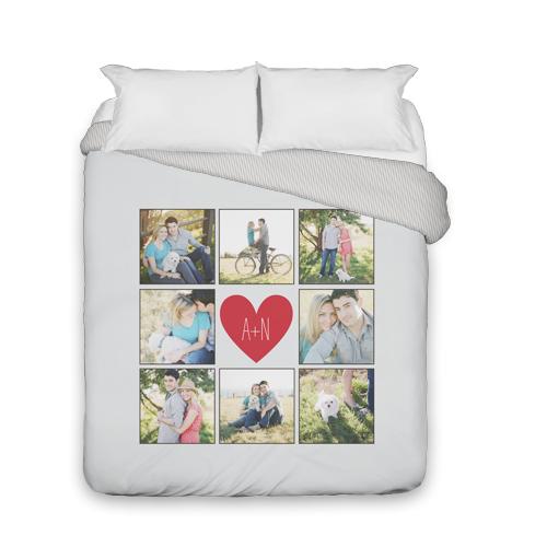 Love Grid Monogram Duvet Cover, Duvet, Duvet Cover w/ Taupe Ticking Stripe Back, Queen, Grey