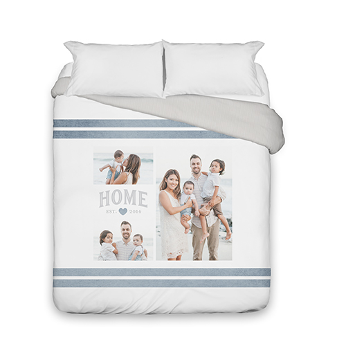 Happy Home Collage Duvet Cover, Duvet, Duvet Cover w/ Taupe Ticking Stripe Back, Queen, Grey