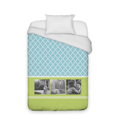 Lantern Print Duvet Cover, Duvet, Duvet Cover w/ White Back, Twin, Blue