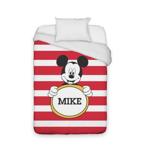 Disney Mickey Mouse Stripe Duvet Cover, Duvet, Duvet Cover w/ White Back, Twin, Red