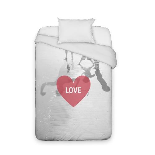 Love Heart Overlay Duvet Cover, Duvet, Duvet Cover w/ White Back, Twin, DynamicColor