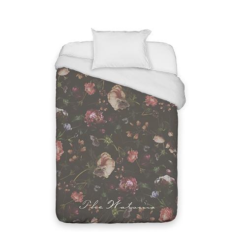 Dark Floral Duvet Cover, Duvet, Duvet Cover w/ White Back, Twin, Black
