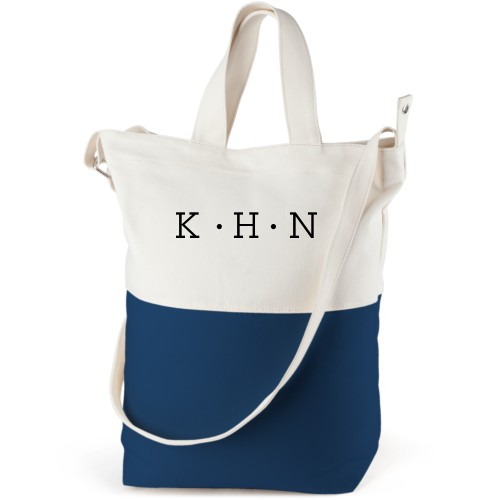 Dotted Monogram Canvas Tote Bag, Navy, Bucket tote, White