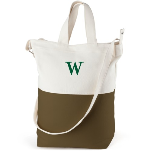 Big Initial Canvas Tote Bag, Army Green, Bucket tote, White