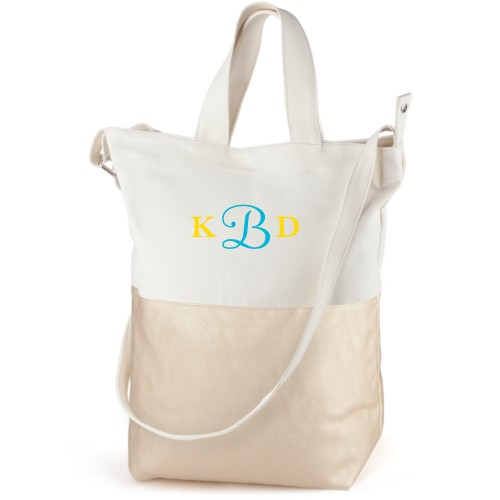 Three Letter Monogram Canvas Tote Bag, Metallic Gold, Bucket tote, White