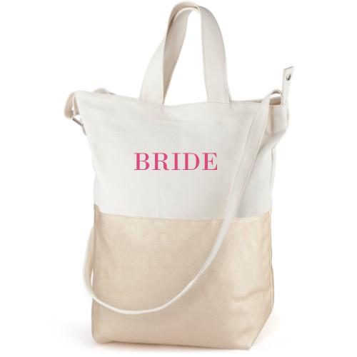 Bride Canvas Tote Bag, Metallic Gold, Bucket tote, White