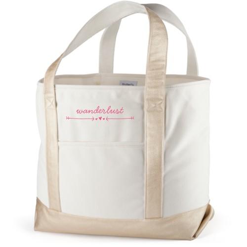 Wanderlust Canvas Tote Bag, Metallic Gold, Large tote, White