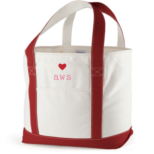 Perfect Pair Heart Canvas Tote Bag, Red, Large tote, White