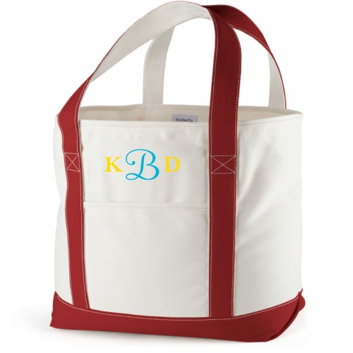 Three Letter Monogram Canvas Tote Bag, Red, Large tote, White