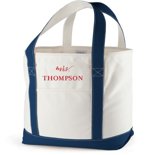 Mrs Canvas Tote Bag, Navy, Large tote, White