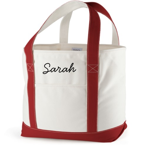 Make It Yours Canvas Tote Bag, Red, Large tote, White