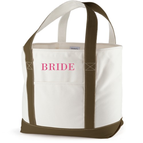 Bride Canvas Tote Bag, Army Green, Large tote, White