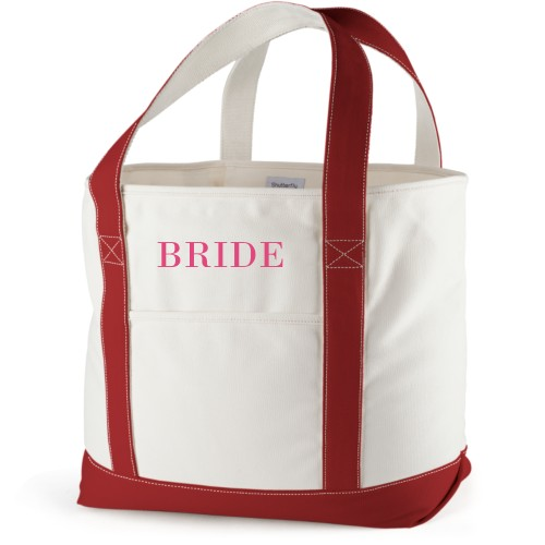 Bride Canvas Tote Bag, Red, Large tote, White