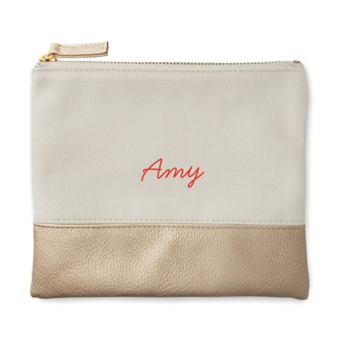Make It Yours Canvas Pouch, Metallic Gold, Small Pouch, White