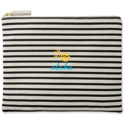 Pineapple Canvas Pouch, Striped Black, Large Pouch, White