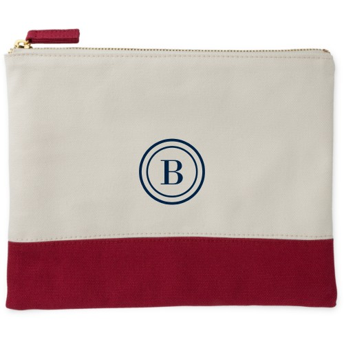 Circle Frame Canvas Pouch, Red, Large Pouch, White