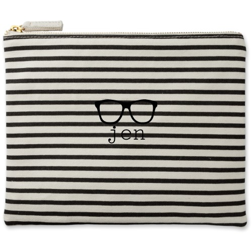 Cool Frames Canvas Pouch, Striped Black, Large Pouch, White